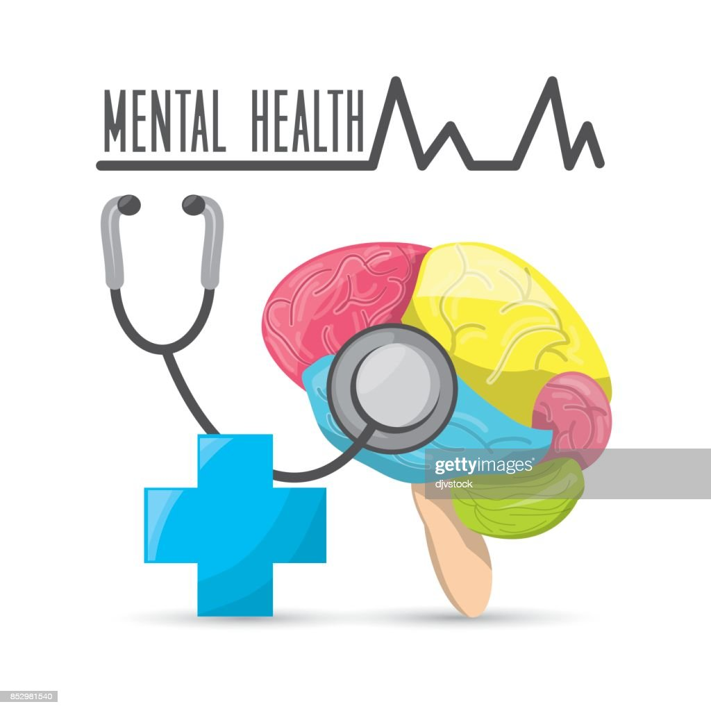 Mental Healthy With Stethoscope And Hospital Symbol Vector Art