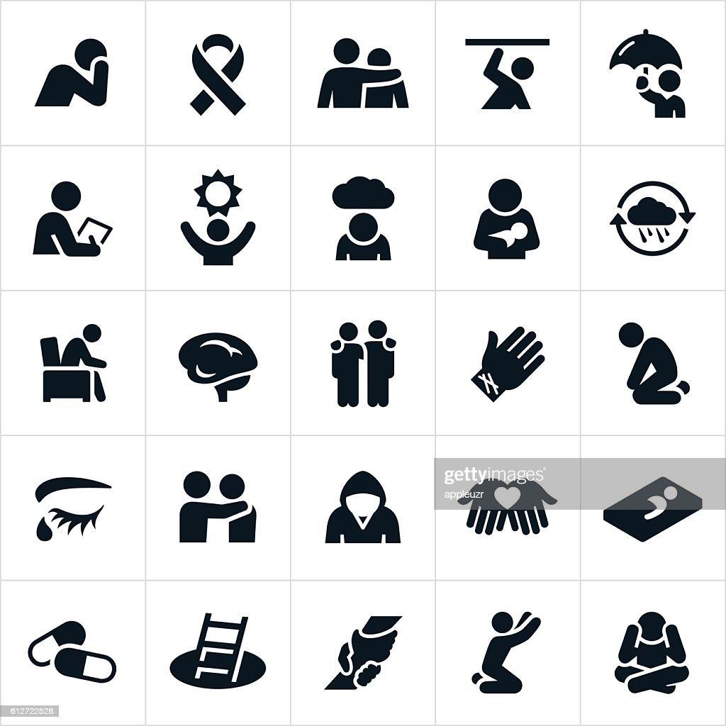 Mental Illness Icons : stock illustration