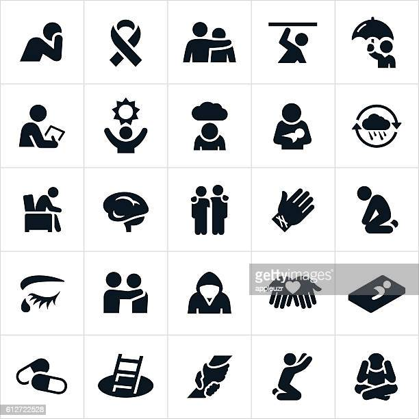 mental illness icons - emotion stock illustrations