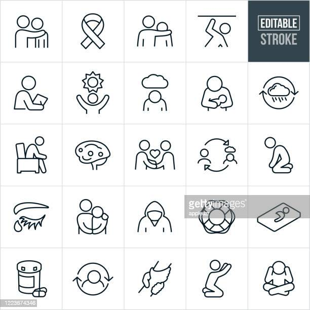 mental illness thin line icons - editable stroke - thin stock illustrations