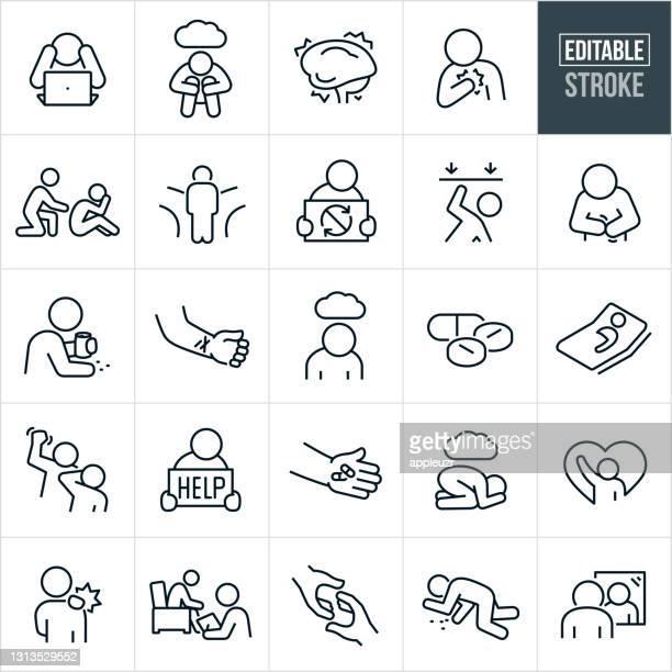 mental illness thin line icons - editable stroke - sadness stock illustrations