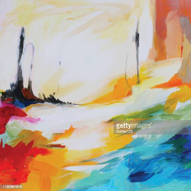 mental landscape abstract acrylic painting - acrylic painting stock illustrations