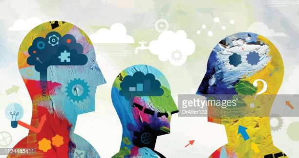 mental power concept - painted image stock illustrations