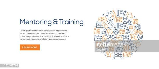 illustrazioni stock, clip art, cartoni animati e icone di tendenza di mentoring and training banner template with line icons. modern vector illustration for advertisement, header, website. - evento relativo all'istruzione