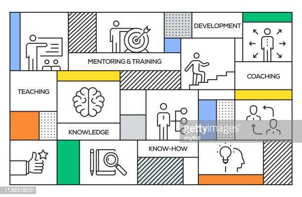 mentoring and training concept. geometric retro style banner and poster concept with mentoring and training line icons - instructor stock illustrations