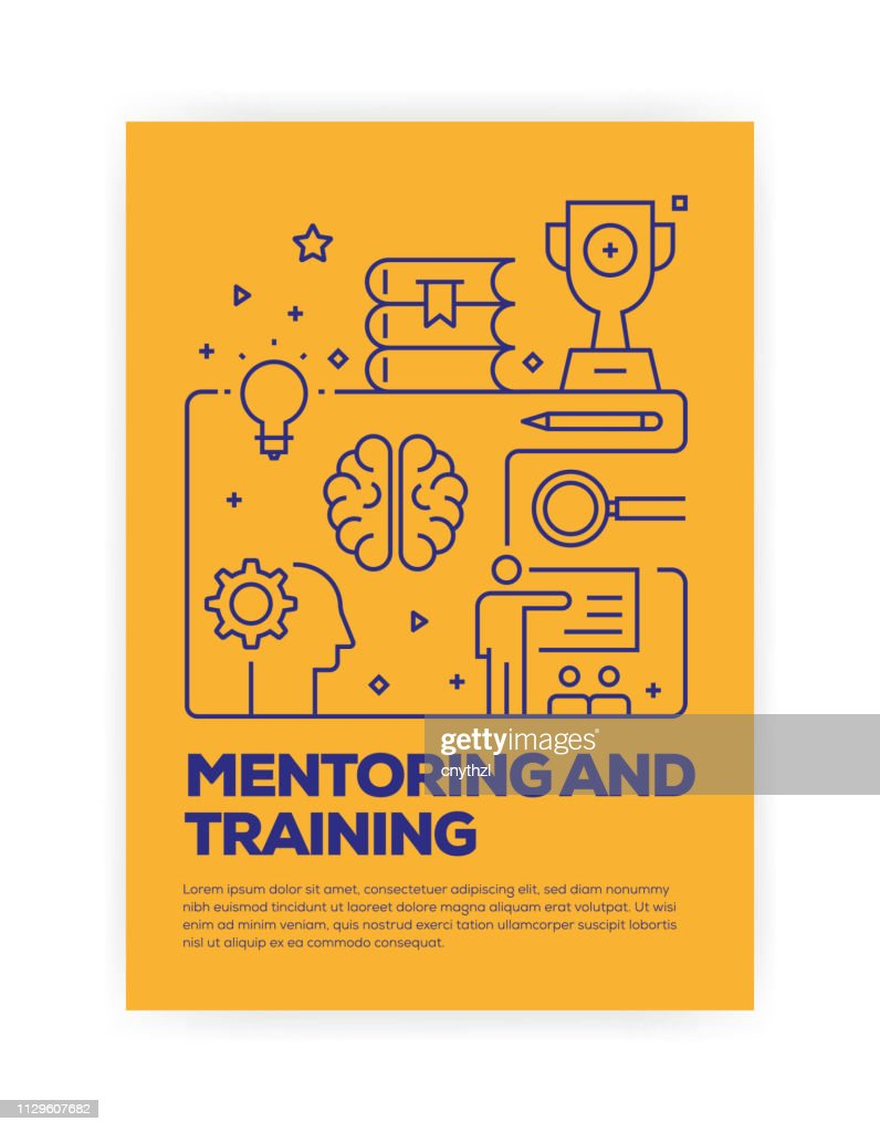 Mentoring and Training Concept Line Style Cover Design for Annual Report, Flyer, Brochure. : stock illustration