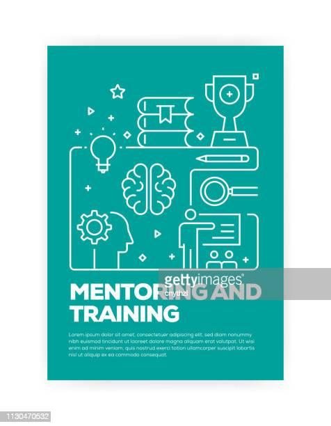 mentoring and training concept line style cover design for annual report, flyer, brochure. - showing stock illustrations