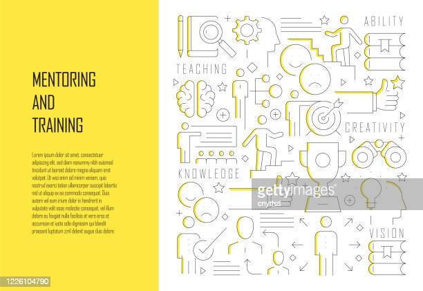 mentoring and training related line design style web banner vector illustration - obedience training stock illustrations