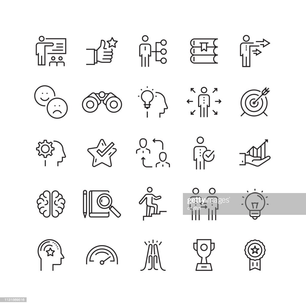 Mentoring and Training Related Vector Line Icons : Illustrazione stock