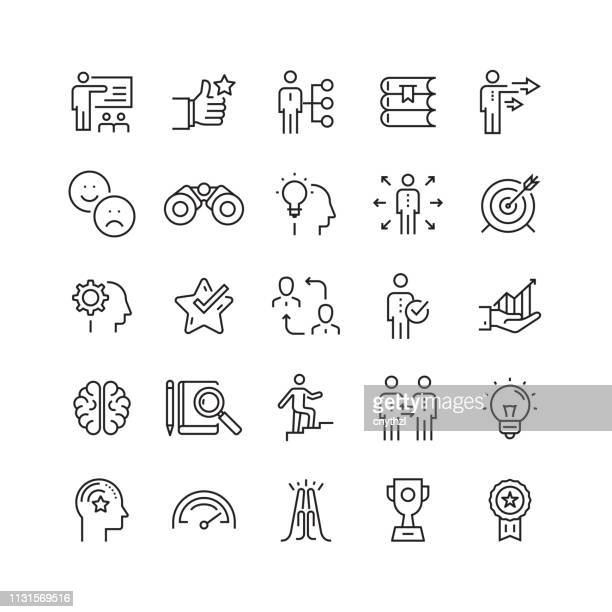 mentoring and training related vector line icons - employee stock illustrations