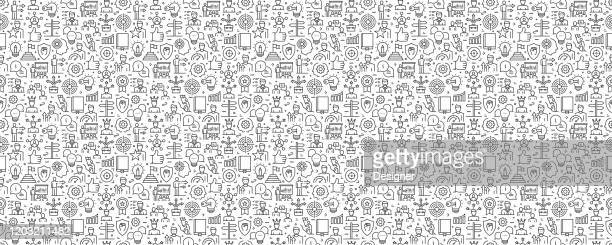mentoring und training nahtloses muster und hintergrund mit liniensymbolen - entwicklung stock-grafiken, -clipart, -cartoons und -symbole