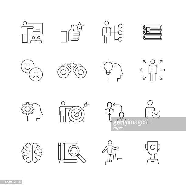 mentoring and training - set of thin line vector icons - obedience training stock illustrations