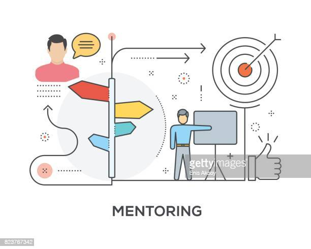 mentoring concept with icons - guru stock illustrations, clip art, cartoons, & icons