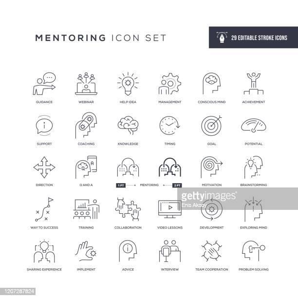 mentoring editierbare strichliniensymbole - wachsamkeit stock-grafiken, -clipart, -cartoons und -symbole