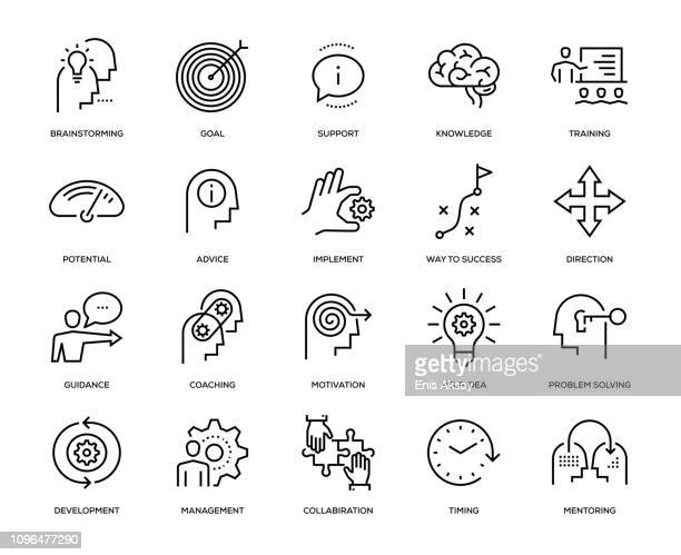 stockillustraties, clipart, cartoons en iconen met mentoring icon set - vastberadenheid