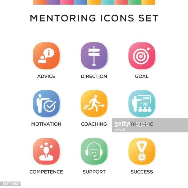 mentoring icons set on gradient background - guru stock illustrations, clip art, cartoons, & icons