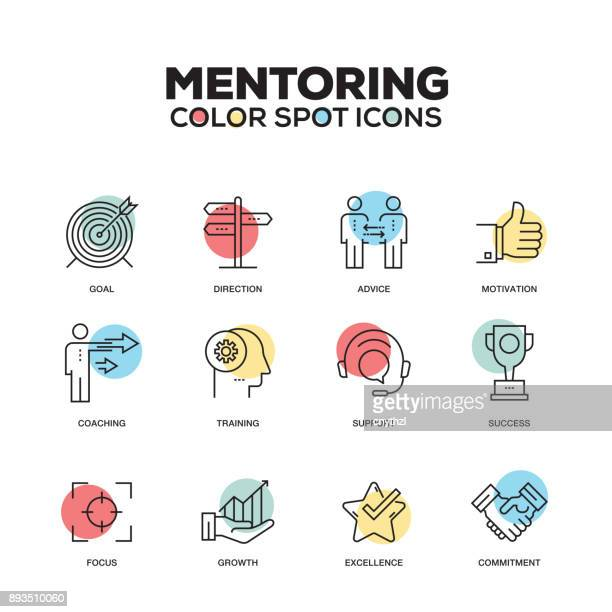 mentoring icons. vector line icons set. premium quality. modern outline symbols and pictograms. - showing stock illustrations