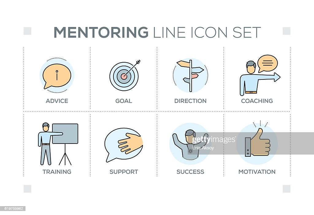 Mentoring keywords with line icons : stock illustration