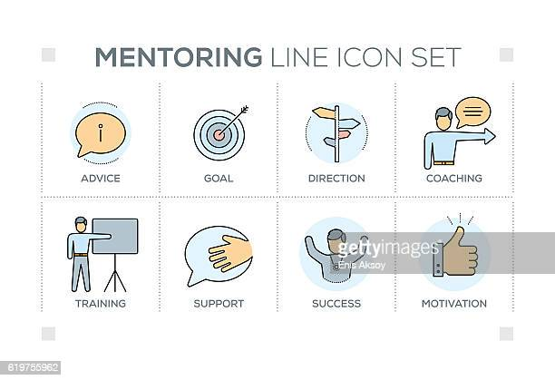 mentoring keywords with line icons - role model stock illustrations, clip art, cartoons, & icons