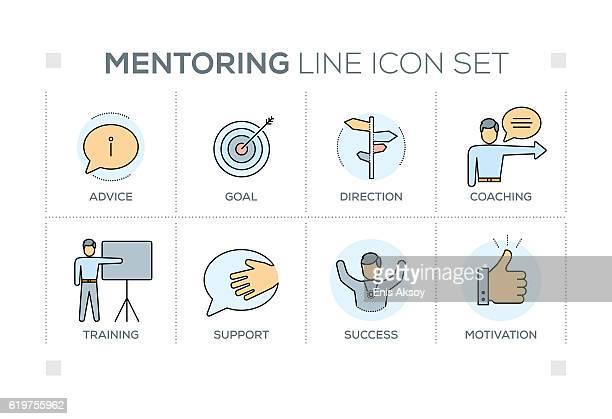 mentoring keywords with line icons - guru stock illustrations, clip art, cartoons, & icons