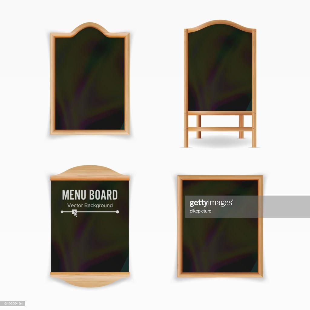 Menu Black Board Vector. Empty Cafe Menu Set. Realistic Wooden Chalkboard Blank Illustration