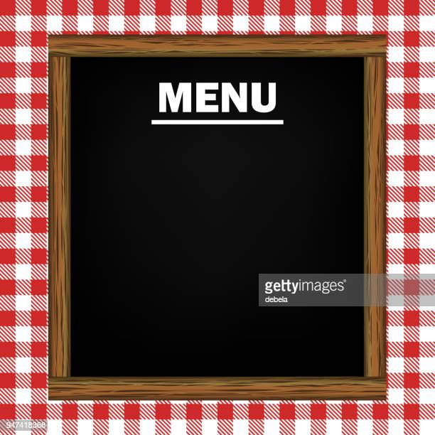 menu blackboard on gingham pattern background - menu background stock illustrations