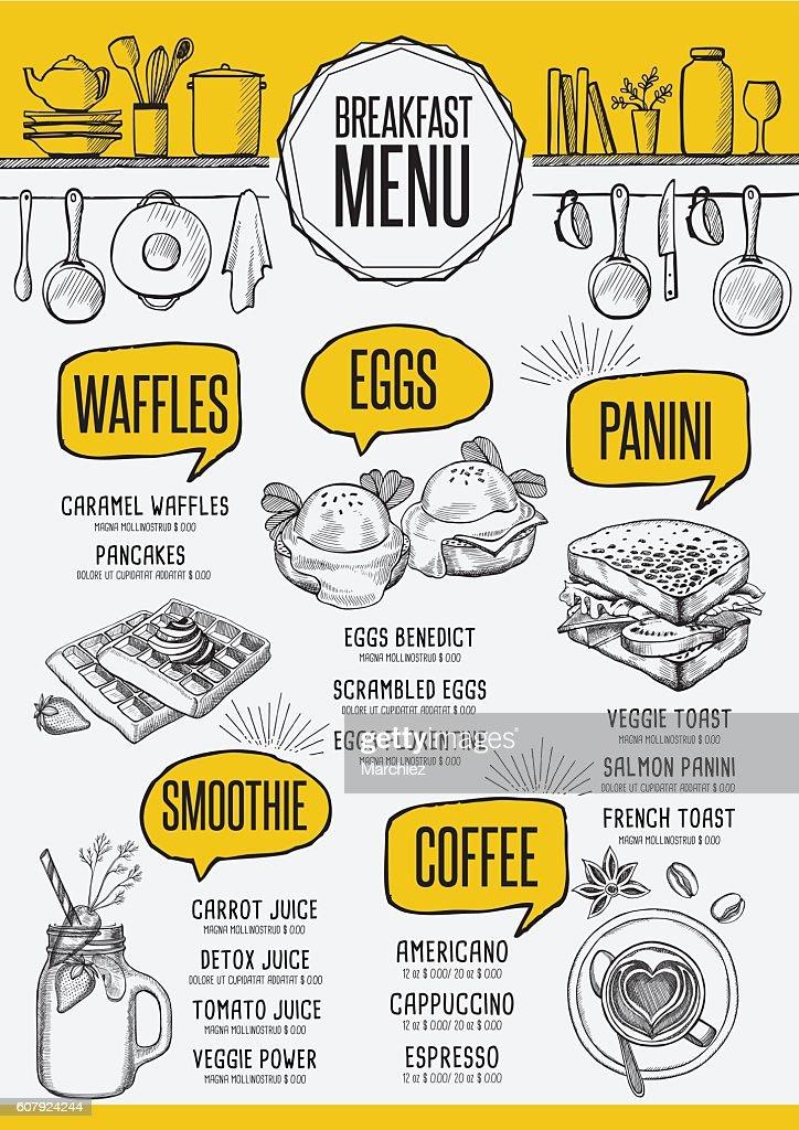 Menu breakfast restaurant, food template placemat.