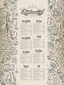 Menu design. restaurant brochure. Cafe vector pattern with hand drawn