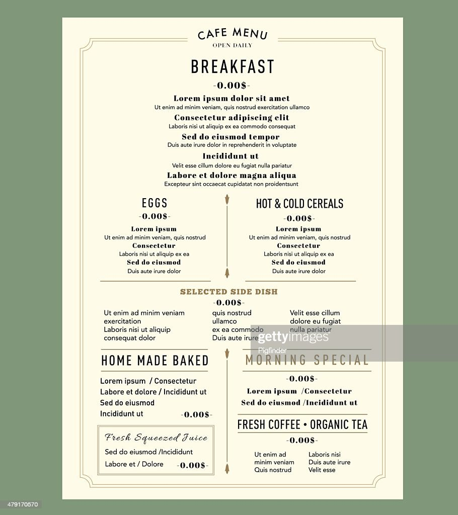 Menu Design Template layout for Breakfast Restaurant Cafe Vintage style