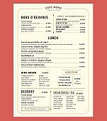 Menu Design Template layout Restaurant Cafe Vintage style