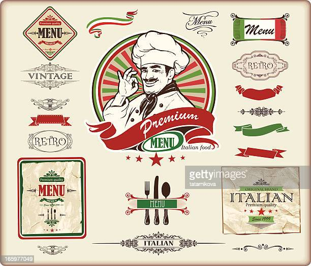 italian menu design - vintage restaurant stock illustrations