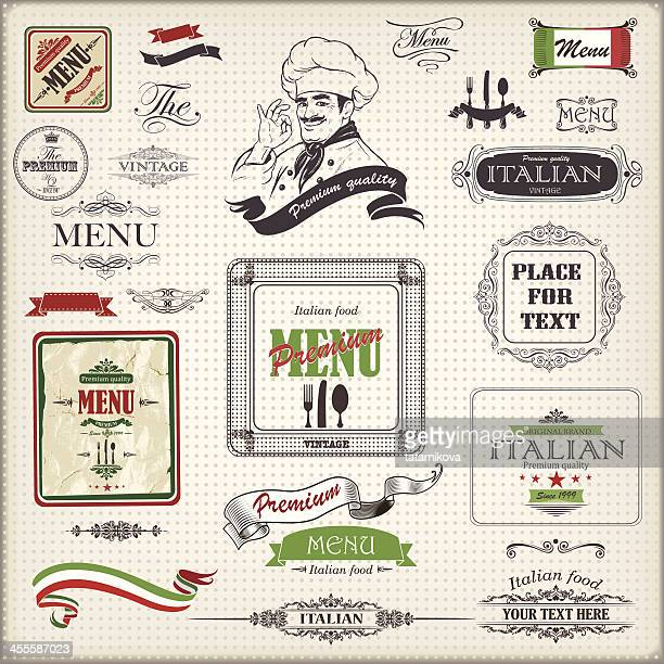 italian menu design - italy stock illustrations