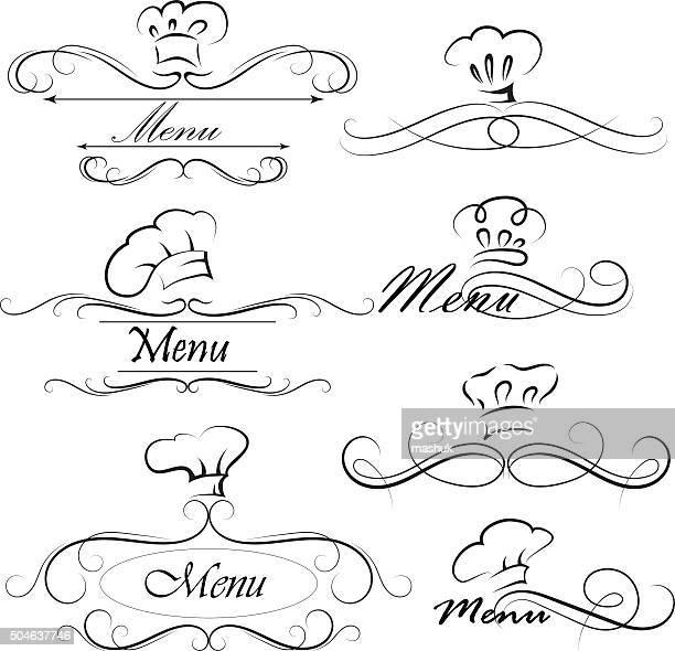 ilustrações, clipart, desenhos animados e ícones de menu do divisor - chapéu de cozinheiro