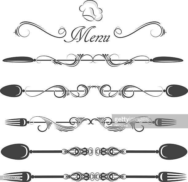 ilustrações de stock, clip art, desenhos animados e ícones de separador de menus - talheres