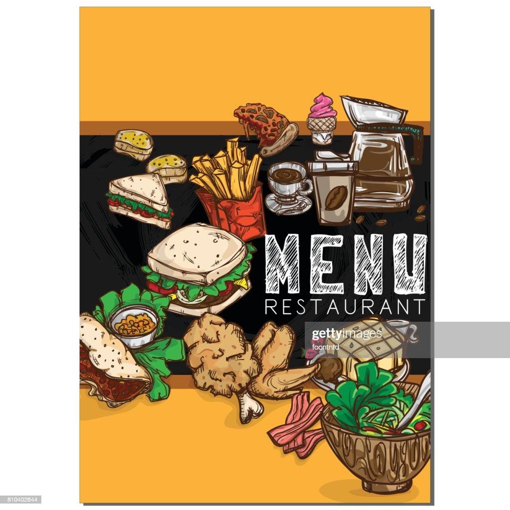 Menu Food Restaurant Template Design Hand Drawing Graphic