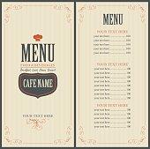 Menu for a cafe or restaurant with a toque