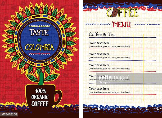 Menu for cafe, bar, coffeehouse, restaurant  - Taste of Colombia