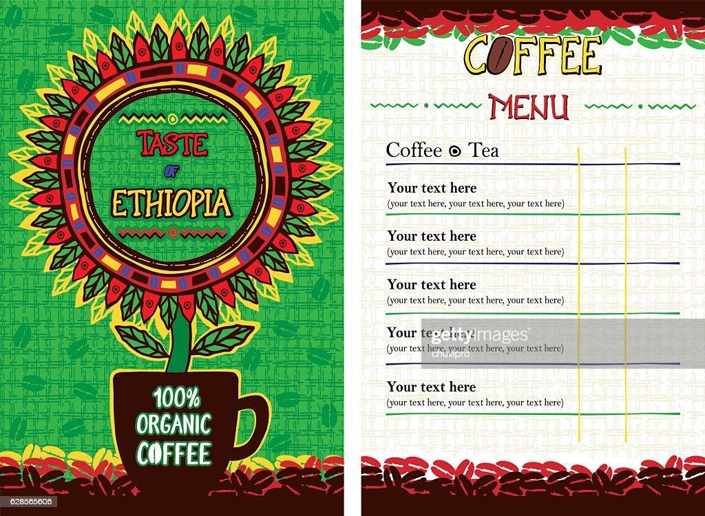 Menu for cafe, bar, coffeehouse, restaurant - Taste of Ethiopia
