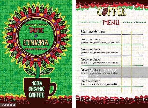 ilustrações, clipart, desenhos animados e ícones de menu for cafe, bar, coffeehouse, restaurant - taste of ethiopia - ethiopia