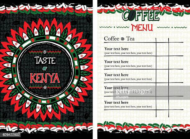 illustrazioni stock, clip art, cartoni animati e icone di tendenza di menu for cafe, bar, coffeehouse, restaurant - taste of kenya - kenya