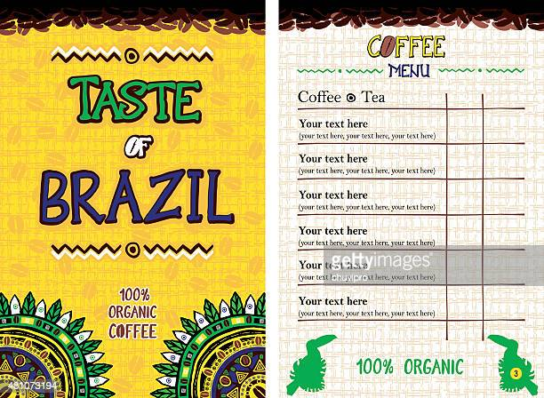 menu for restaurant, cafe, bar, coffeehouse - taste of brazil - menu background stock illustrations