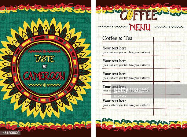 menu for restaurant, cafe, bar, coffeehouse - taste of cameroon - cameroon stock illustrations, clip art, cartoons, & icons
