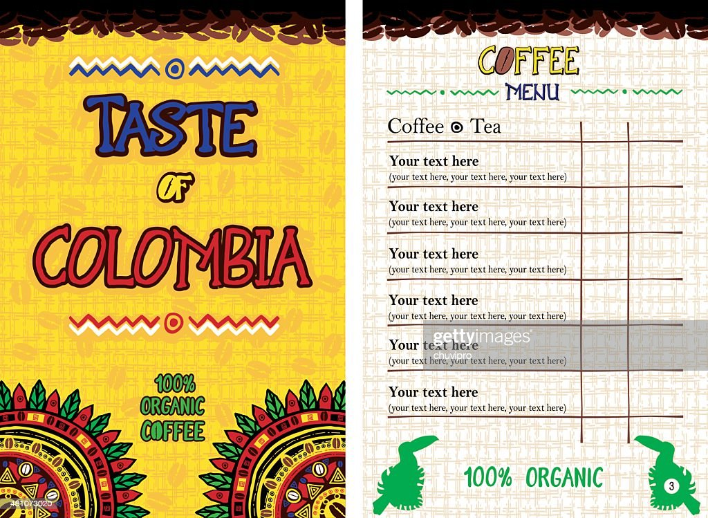 Menu for restaurant, cafe, bar, coffeehouse - Taste of Colombia : stock illustration