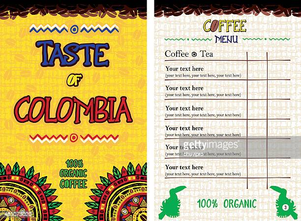 menu for restaurant, cafe, bar, coffeehouse - taste of colombia - colombia stock illustrations