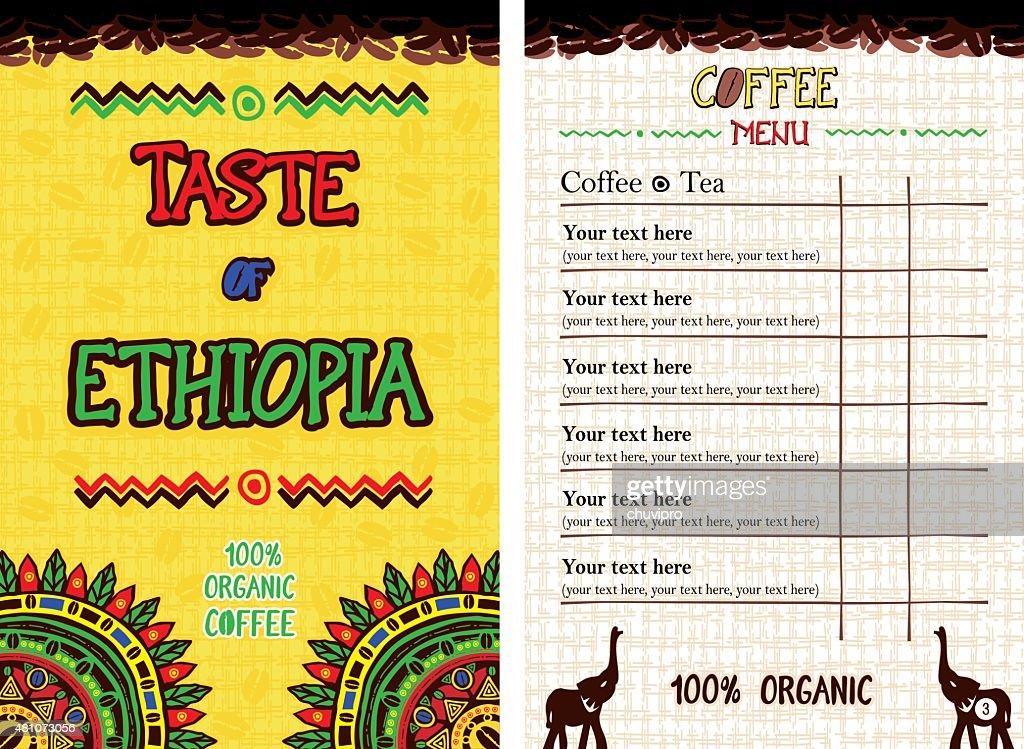 Menu for restaurant, cafe, bar, coffeehouse - Taste of Ethiopia
