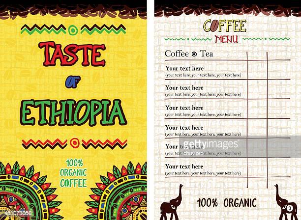 menu for restaurant, cafe, bar, coffeehouse - taste of ethiopia - horn of africa stock illustrations