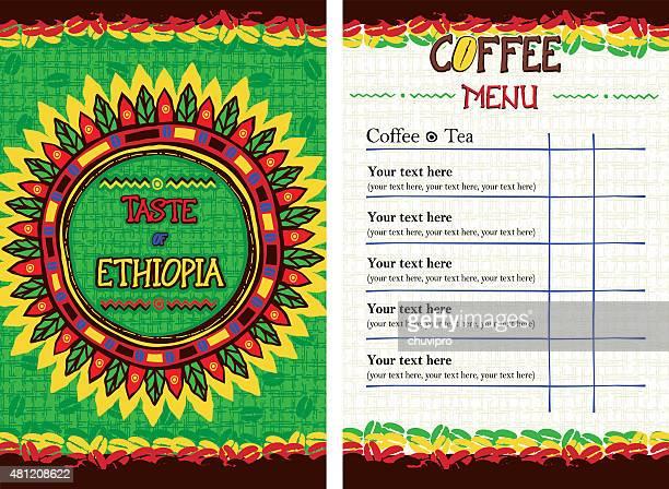menu for restaurant, cafe, bar, coffeehouse - taste of ethiopia - ethiopia stock illustrations, clip art, cartoons, & icons