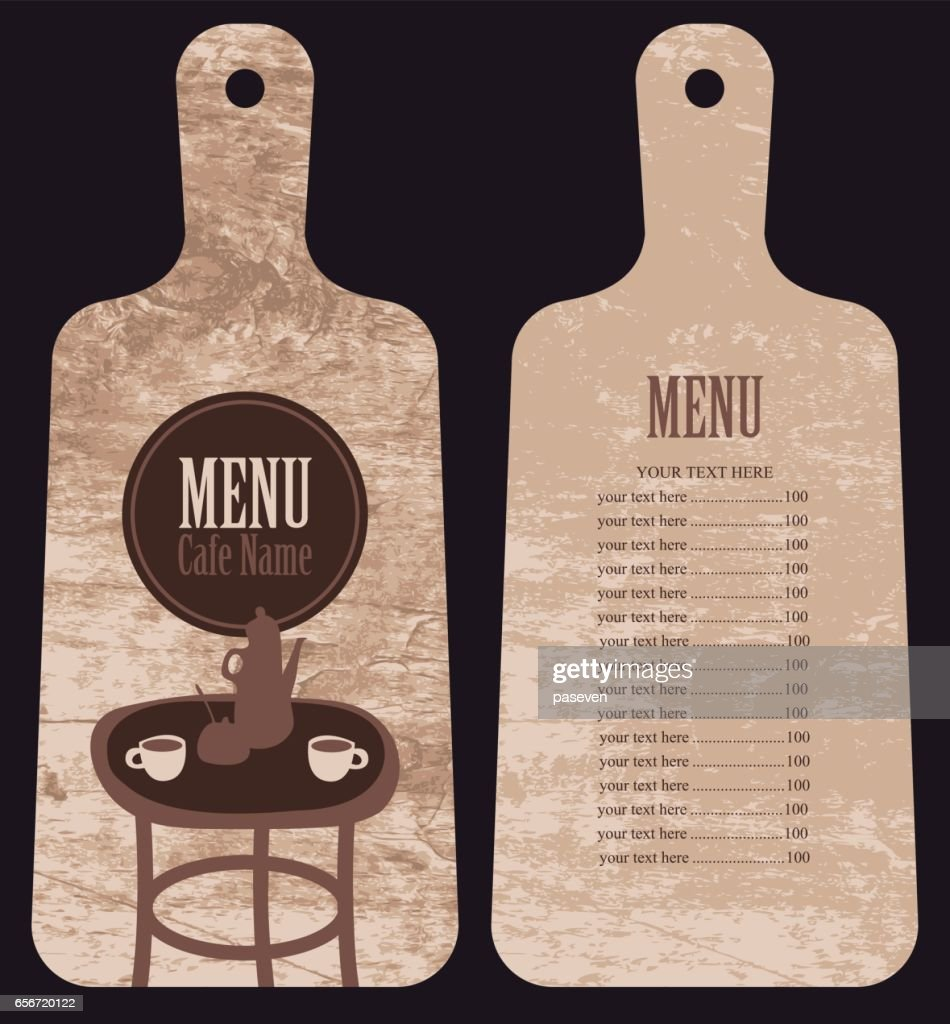 menu for the cafe in the form cutting board