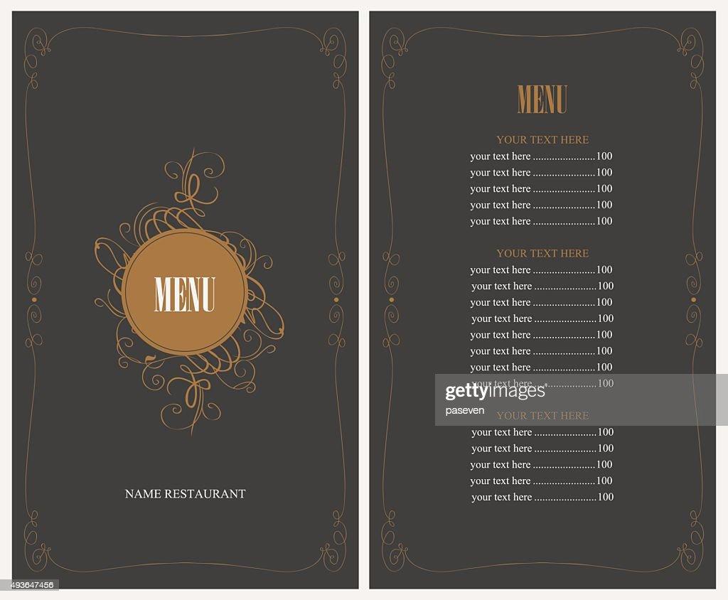 menu for the restaurant