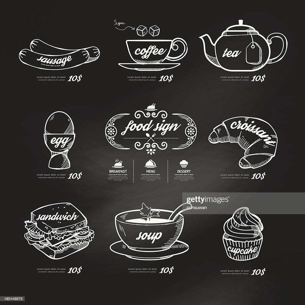 menu icons doodle drawn on chalkboard background .Vector vintage